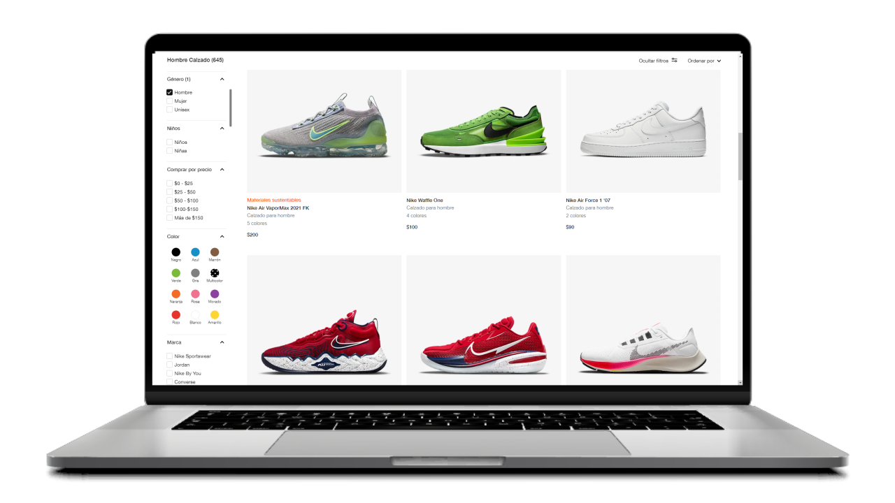 pagina de categoria de un ecommerce de zapatillas