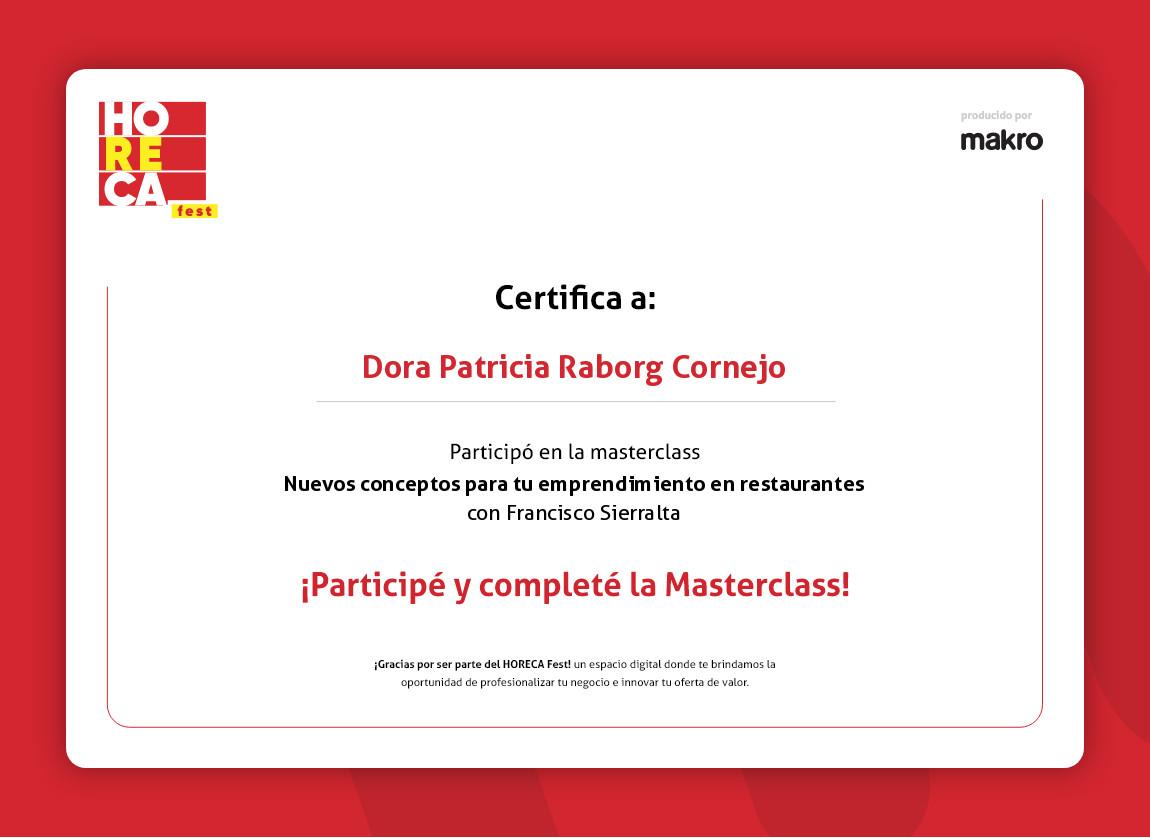 certificado de masterclass del horeca fest
