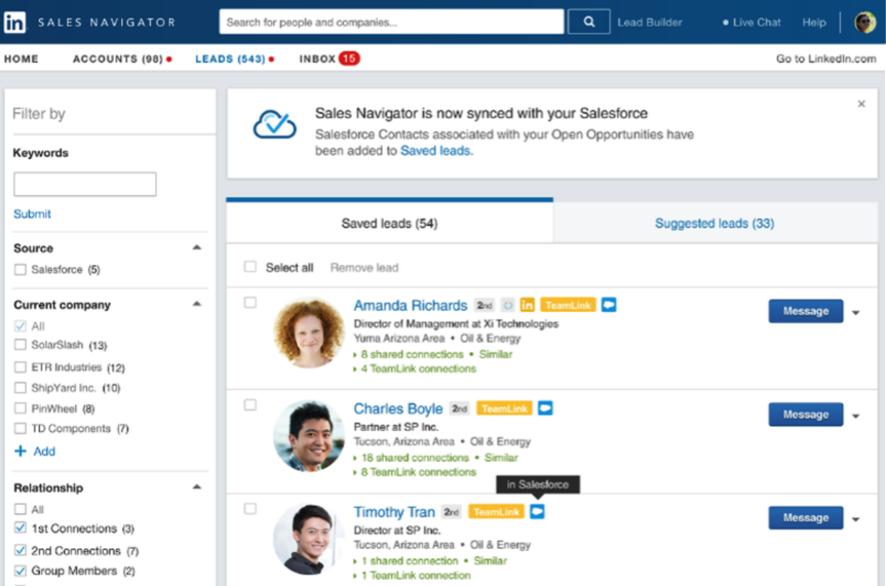 Usa un cuenta base del target alcanzado en LinkedIn