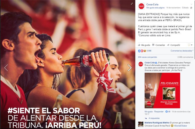 Publicación de Coca Cola