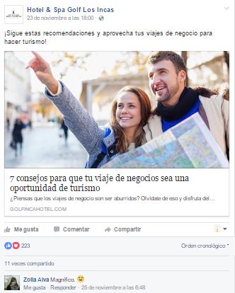 Marketing de contenidos - Ejemplos Golf Los Incas