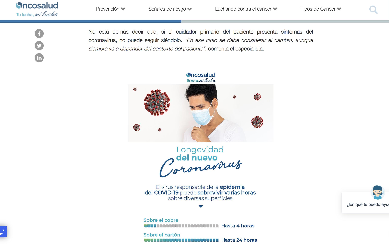 Marketing de contenidos - Ejemplos Oncosañud