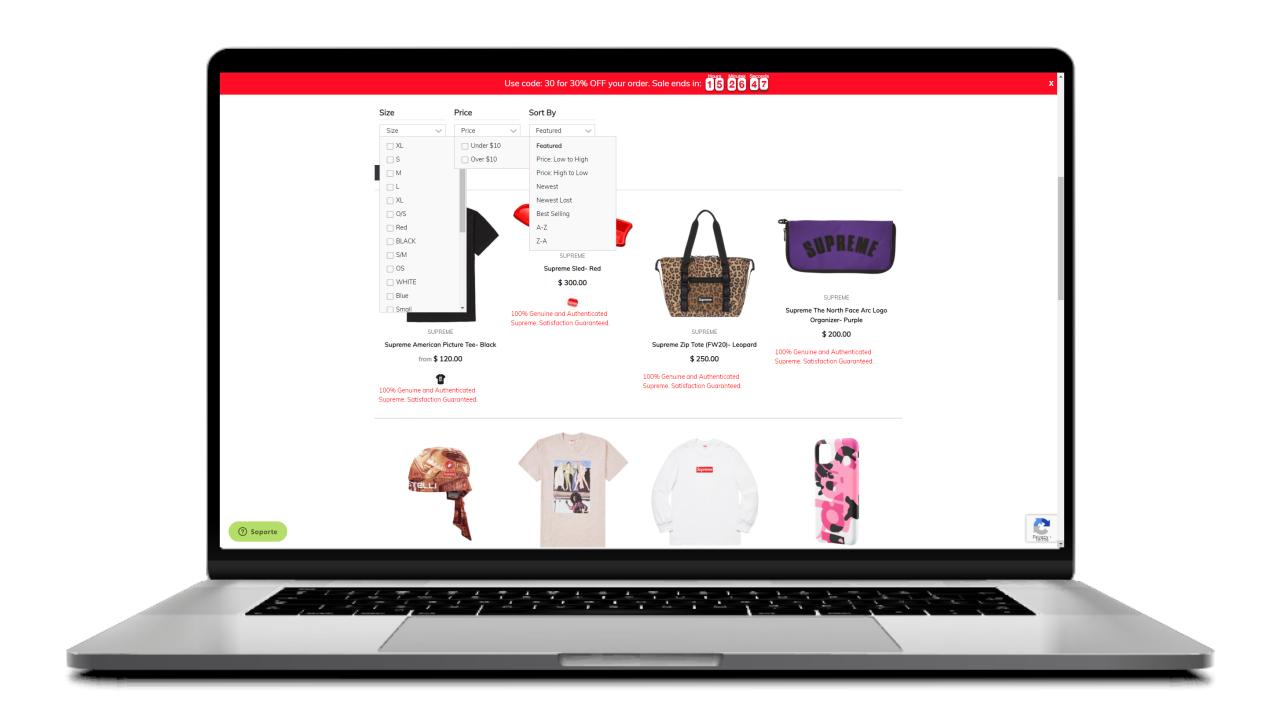 filtros de clasificacion en una pagina de categoria de un ecommerce