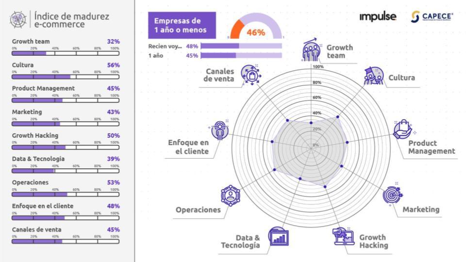 grafico con los resultados del nivel de madurez de empresas de ecommerce de 1 año o menos