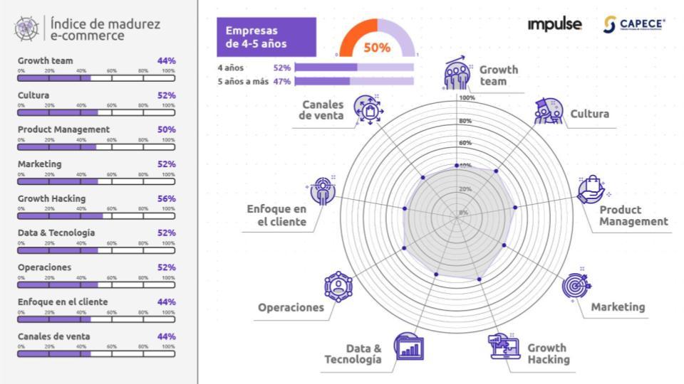 grafico con los resultados del nivel de madurez de empresas de ecommerce de 4 a 5 años