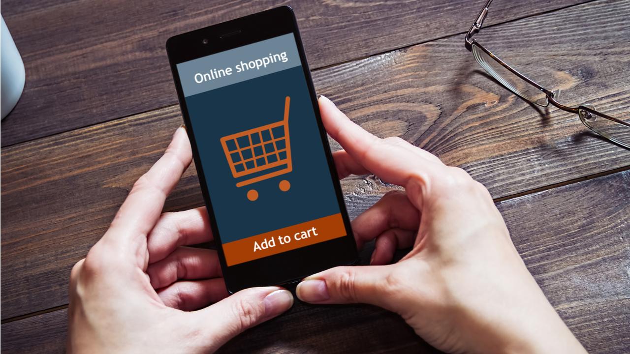 icono del carro de la compra en un iphone representa un ecommerce