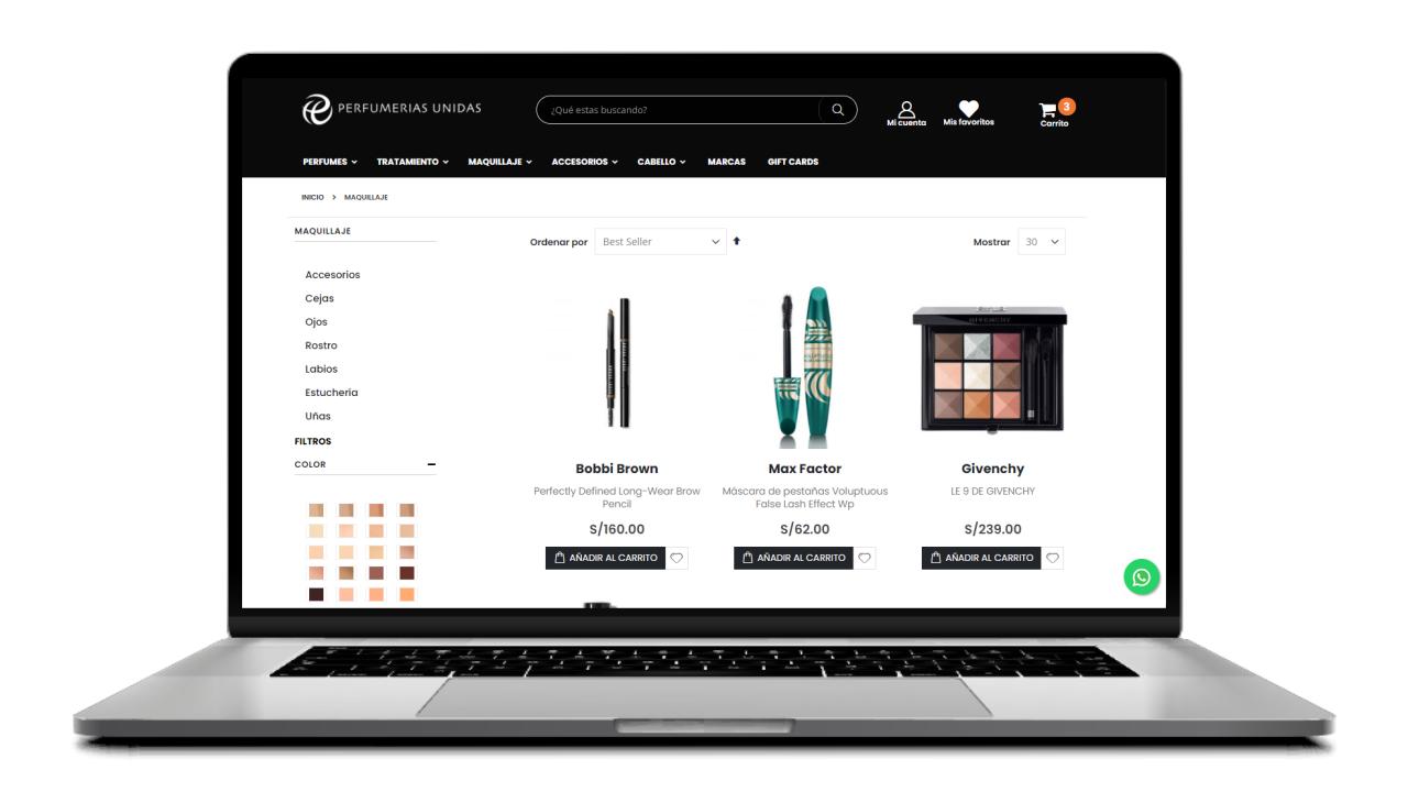 opciones de filtros en una pagina de producto de ecommerce