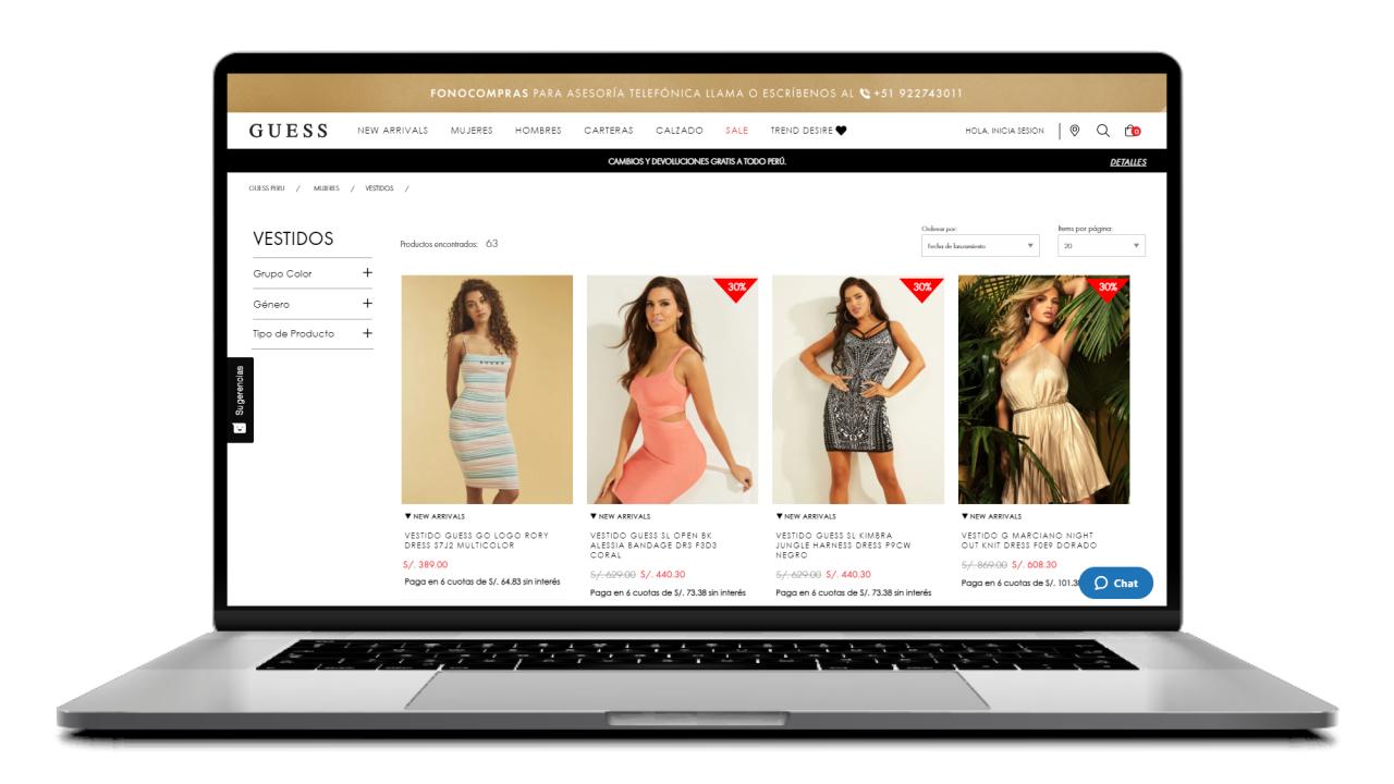 carrusel de productos recomendados en la pagina de ecommerce de guess